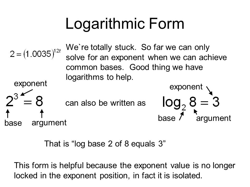 imdma re write as a logarithmic equation