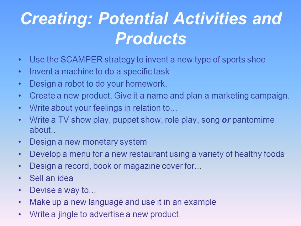 Creating: Potential Activities and Products
