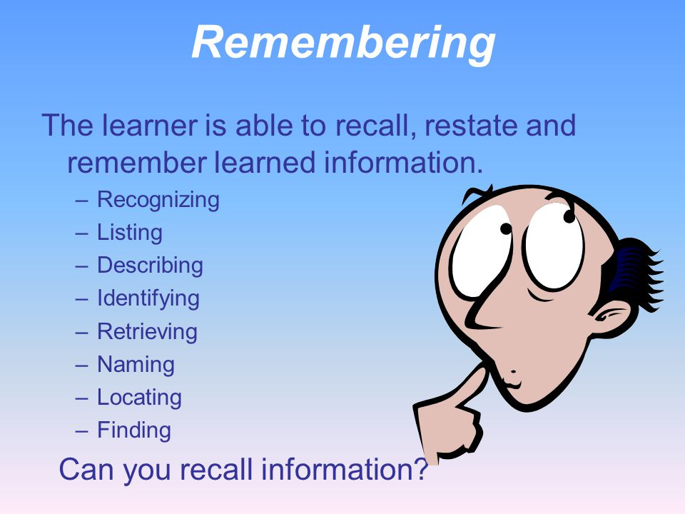 Remembering The learner is able to recall, restate and remember learned information. Recognizing. Listing.