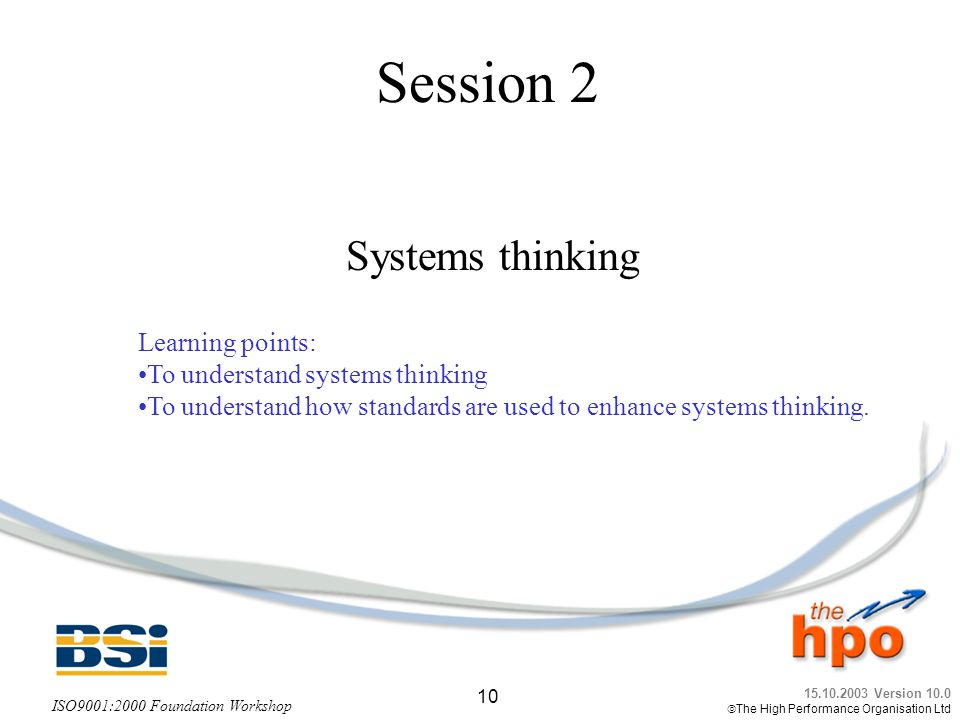 Session 2 Systems thinking Learning points: