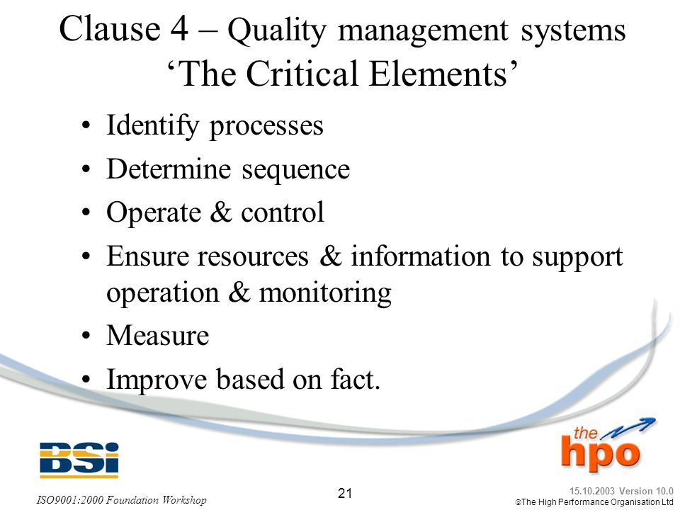 Clause 4 – Quality management systems 'The Critical Elements'