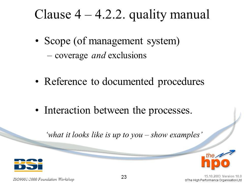 Clause 4 – quality manual