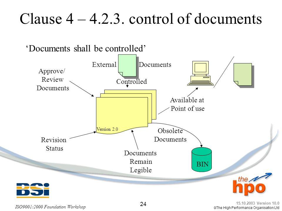 Clause 4 – control of documents