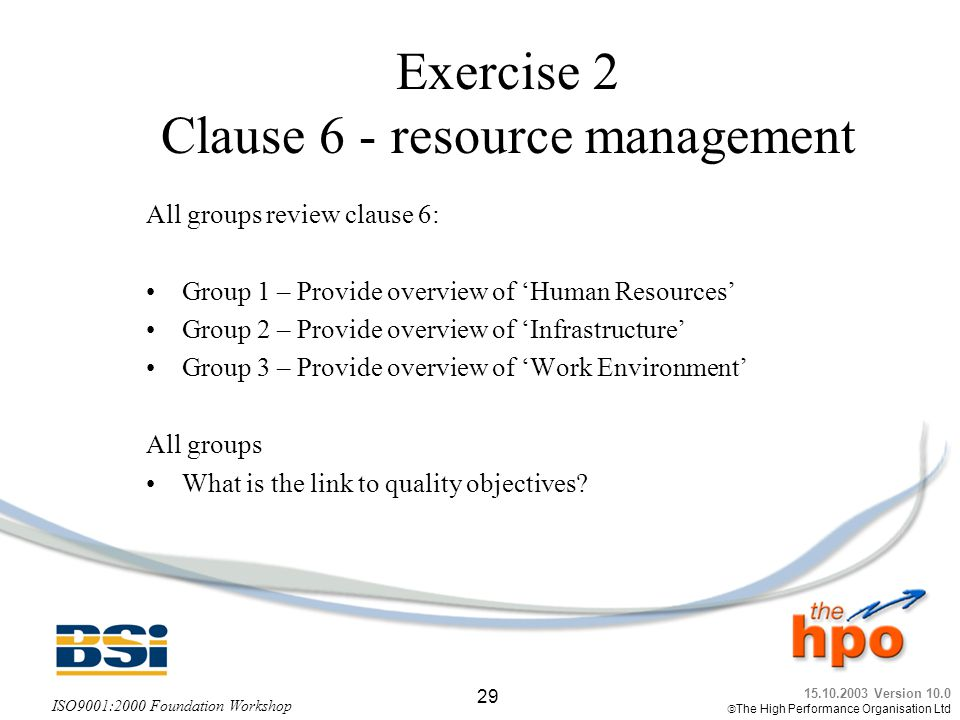 Exercise 2 Clause 6 - resource management