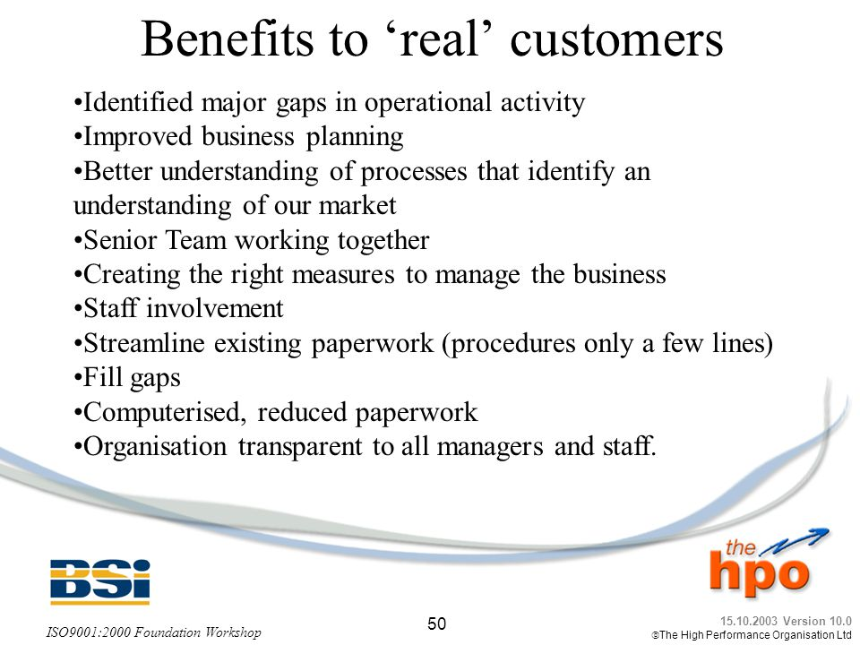 Benefits to 'real' customers