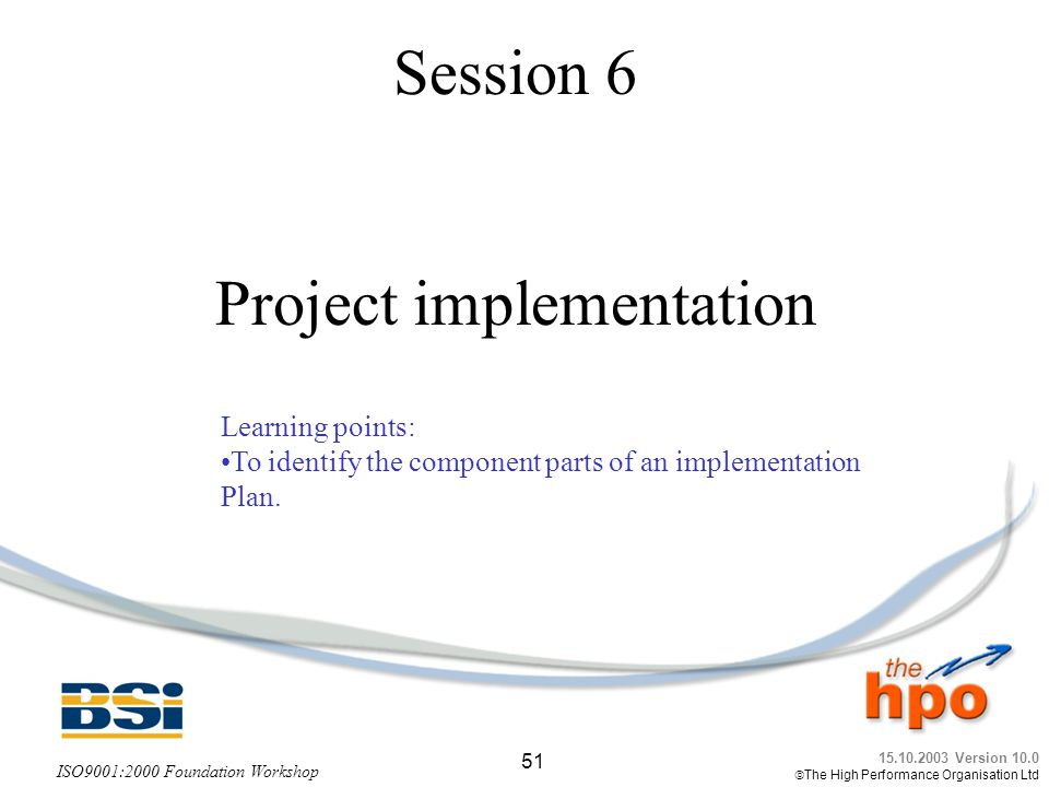 Session 6 Project implementation