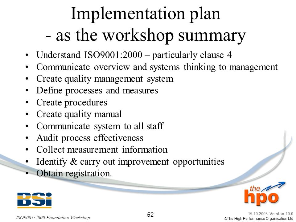 Implementation plan - as the workshop summary