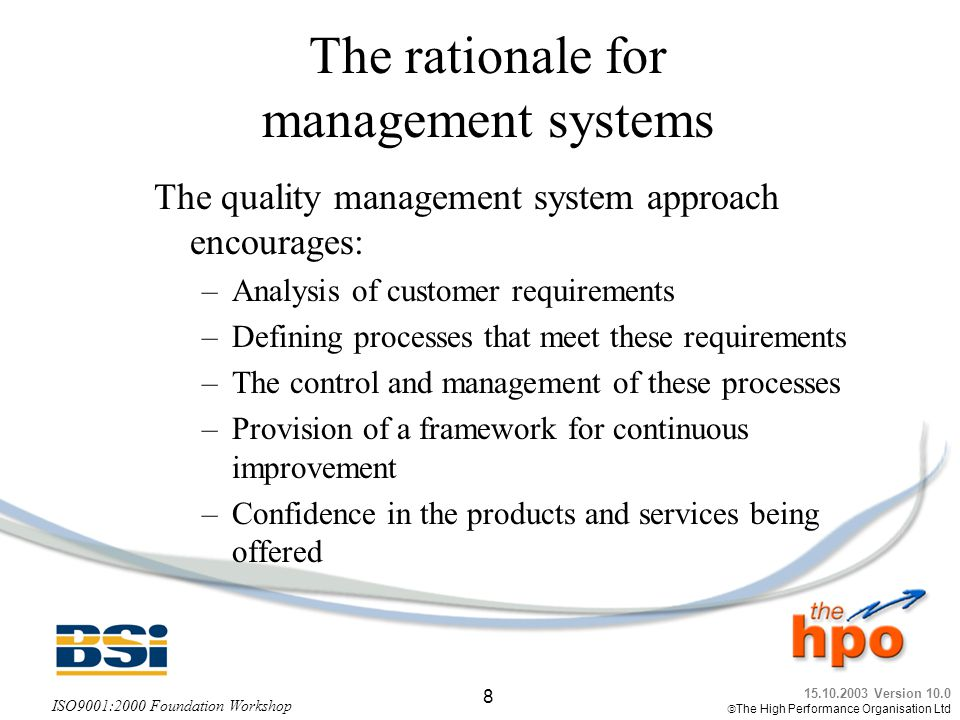 The rationale for management systems