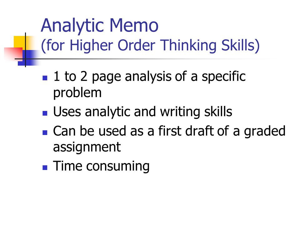 Analytic Memo (for Higher Order Thinking Skills)