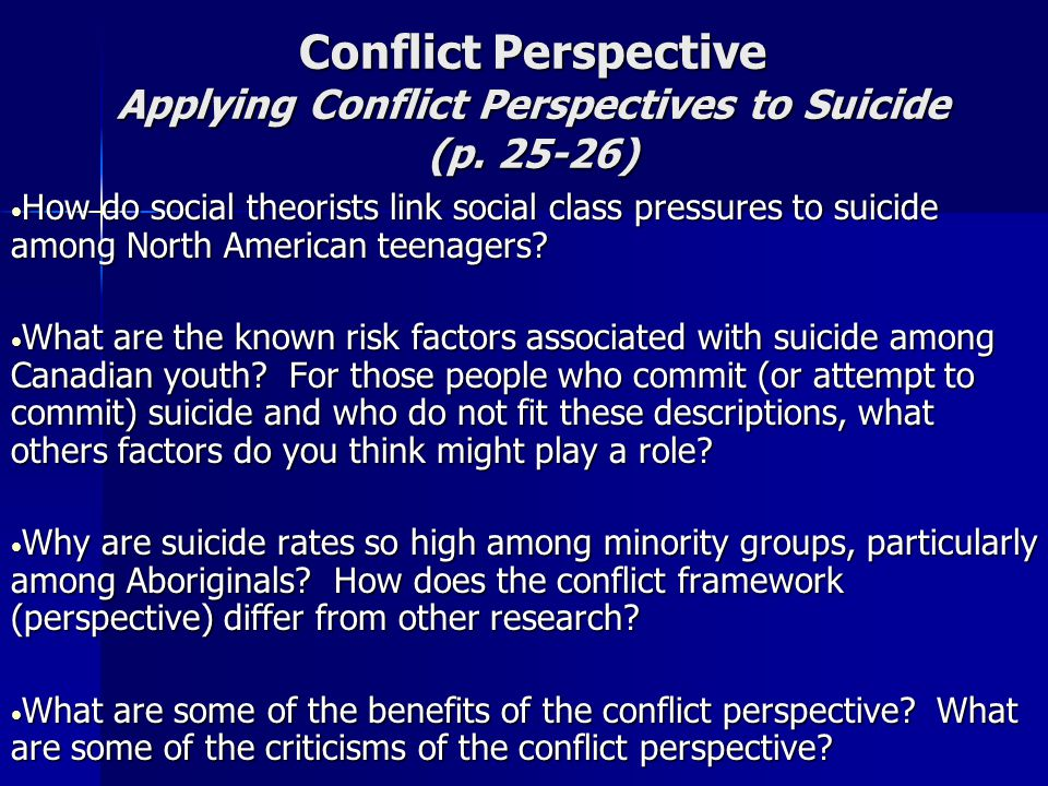 Conflict Perspective Applying Conflict Perspectives to Suicide (p