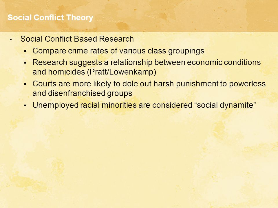 social conflict theory Start studying social conflict theories learn vocabulary, terms, and more with flashcards, games, and other study tools.