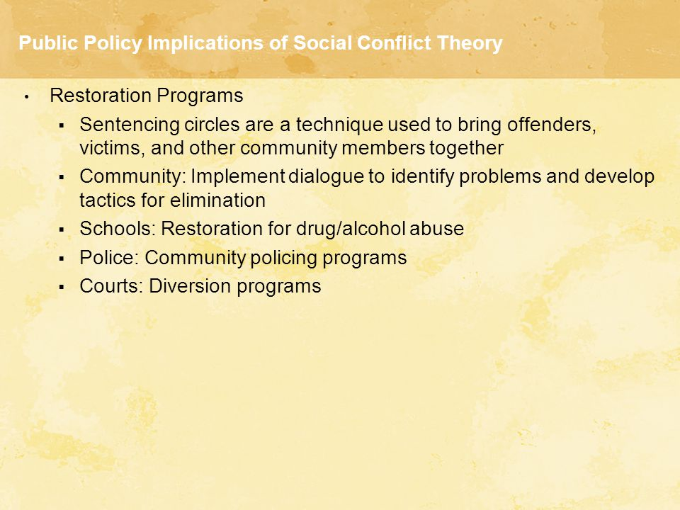 conflict theory on drug abuse Drug abuse as a social problem: a look at the conflict and functionalist perspectives 2600 words apr 28th, 2006 11 pages drugs have been around for thousands of years.
