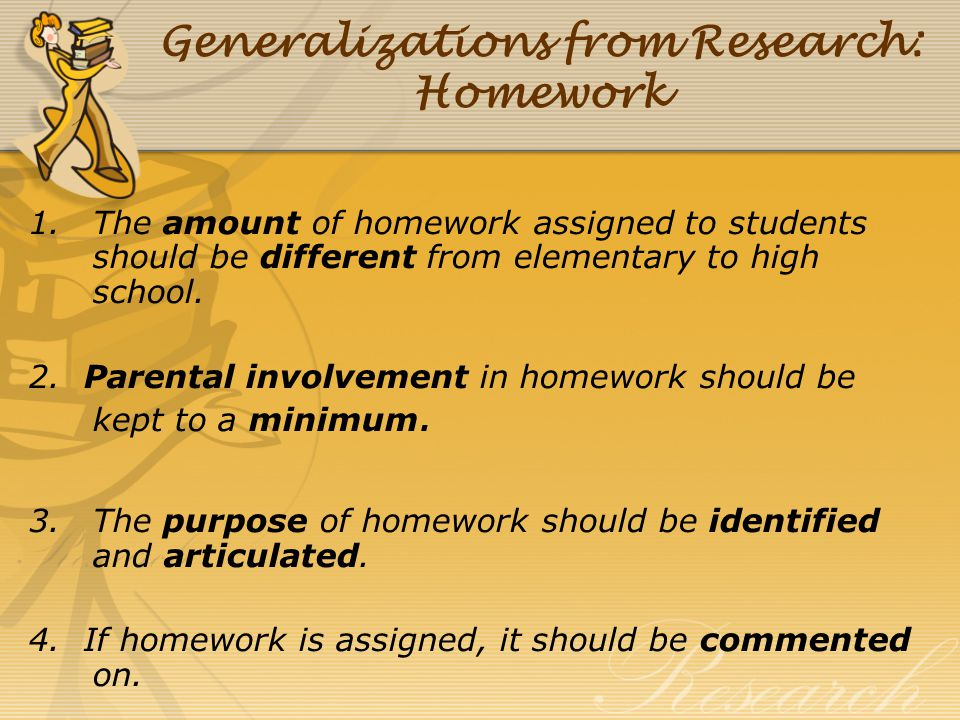 Generalizations from Research: Homework