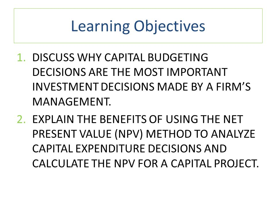 why is capital budgeting analysis so important to the firm Answer capital budgeting is important for it functions as a control tool in an entity's operations through it, they would be able to determine whether targets have been met ot.