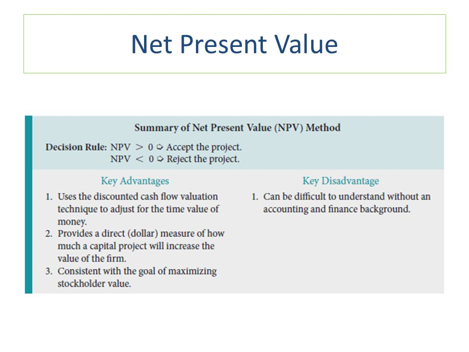 What is net present value?