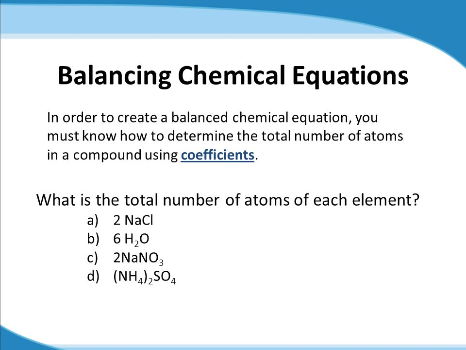 43 conservation of mass and chemical equations ppt