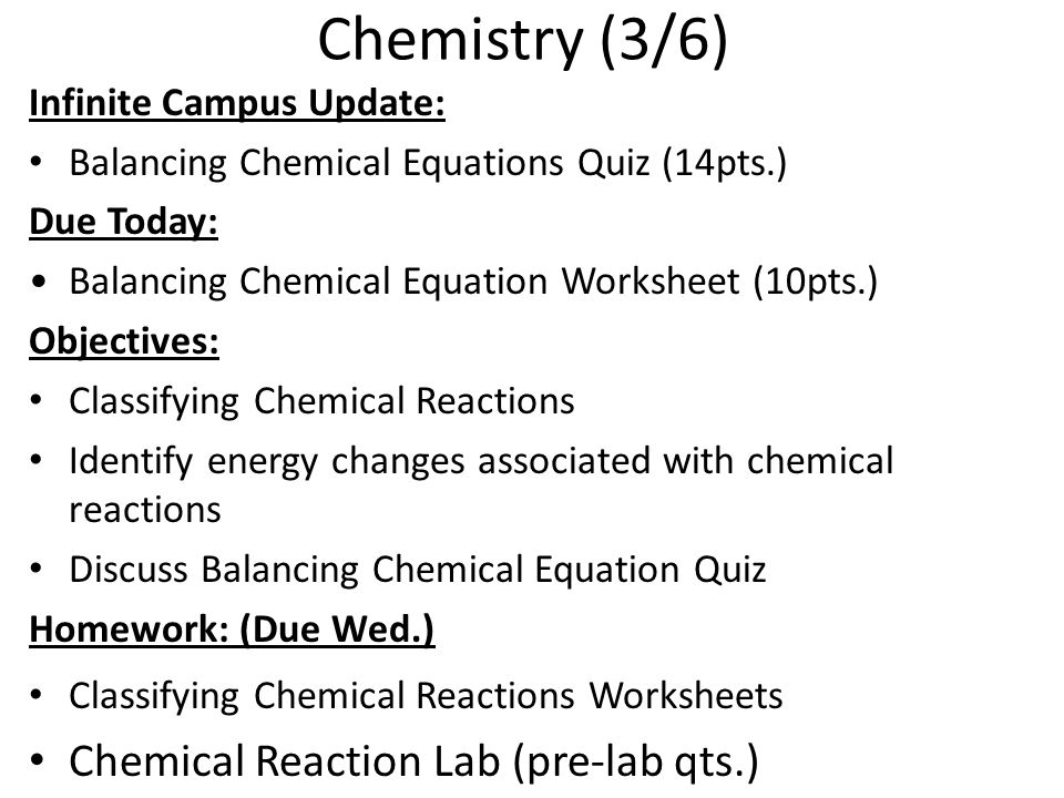 Chemical Reactions ppt download – Classifying Reactions Worksheet