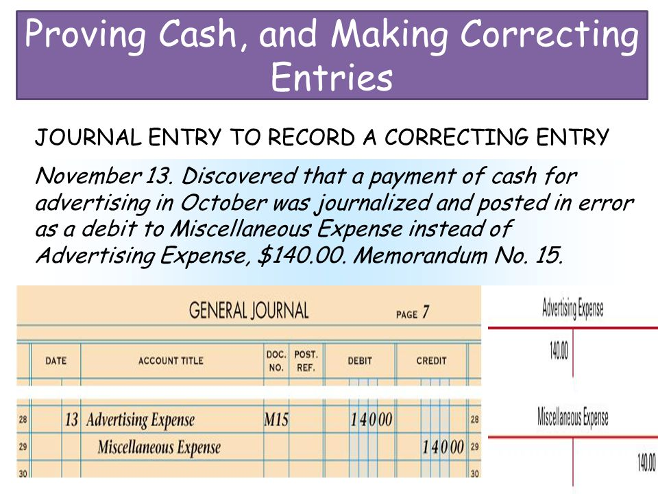 Proving Cash, and Making Correcting Entries