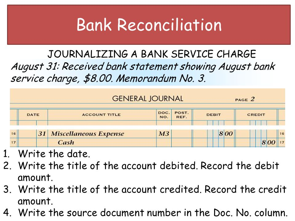 Bank Reconciliation JOURNALIZING A BANK SERVICE CHARGE