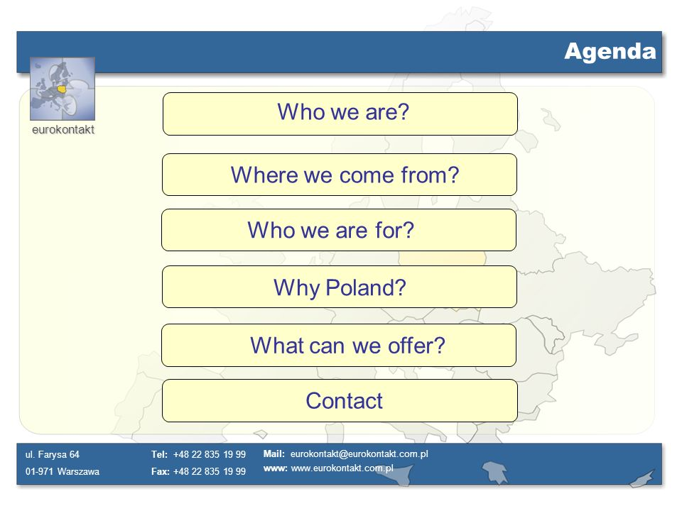 Agenda Who we are Where we come from Who we are for Why Poland What can we offer Contact