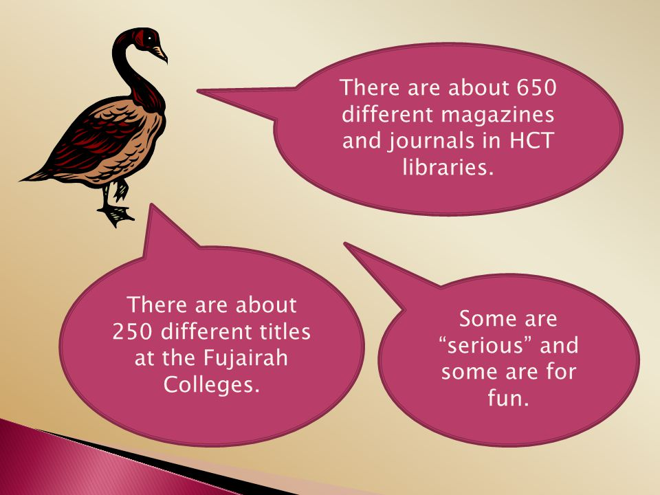 There are about 650 different magazines and journals in HCT libraries.
