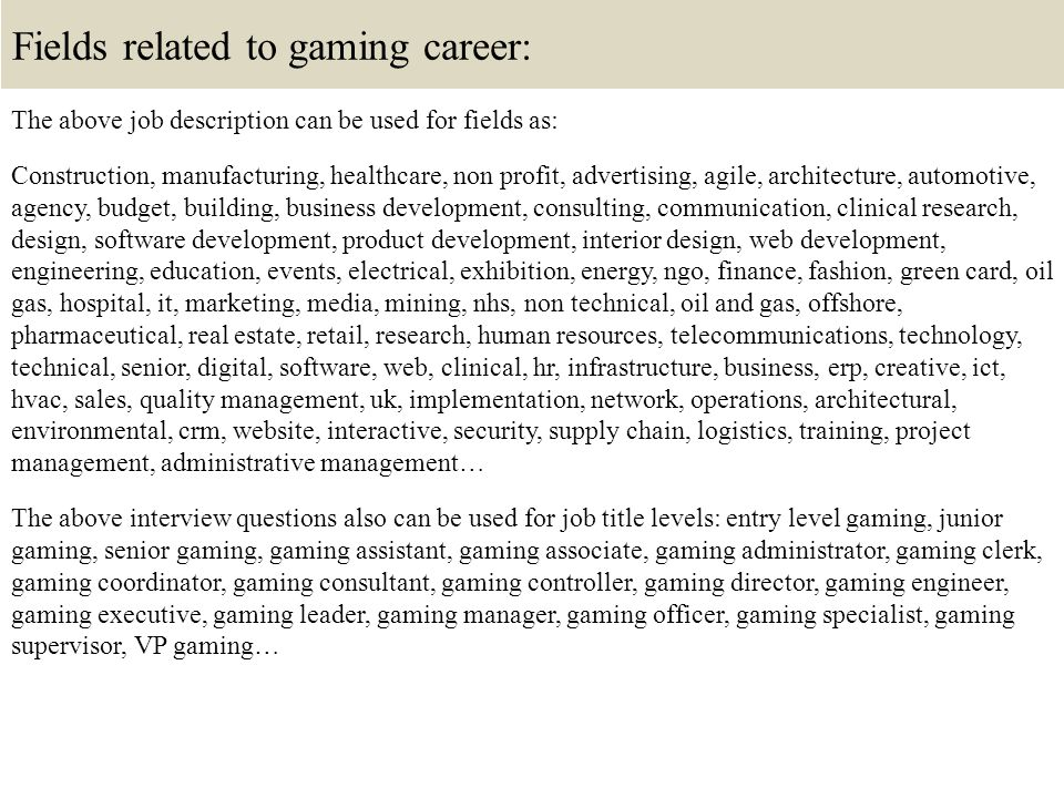 Top 10 Gaming Interview Questions And Answers Ppt Video Online Download
