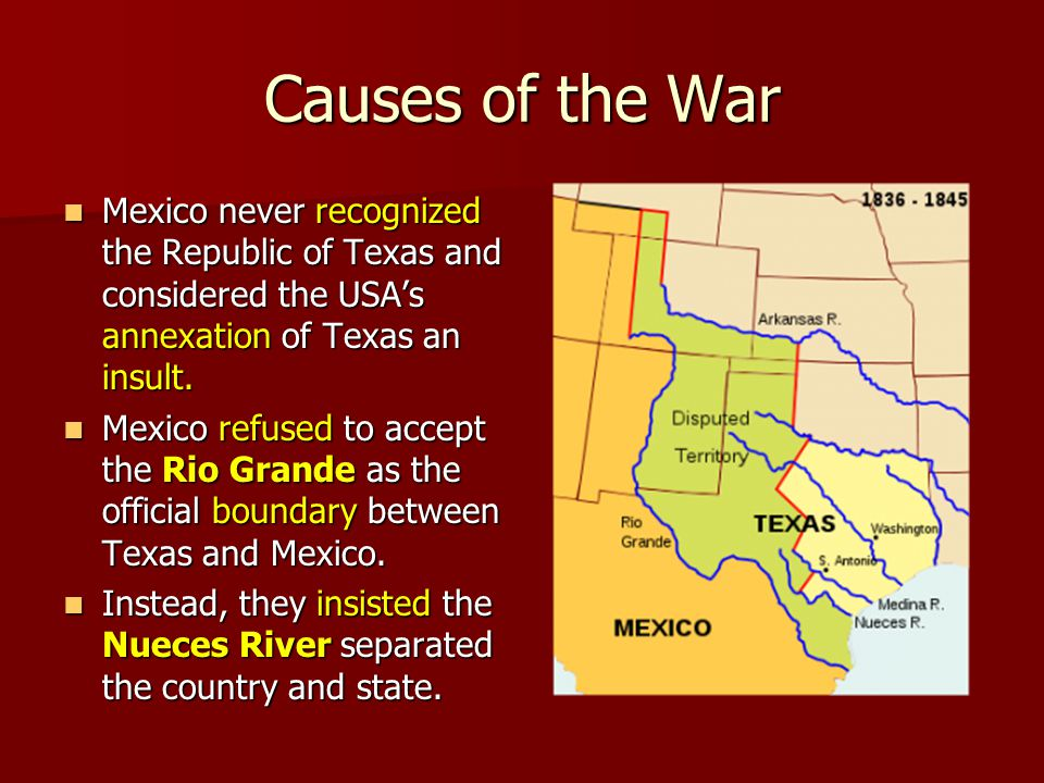 the causes and the effects of the mexican american war The spanish–american war  these two effects led to a decline in the coffee industry  with losses from all causes.