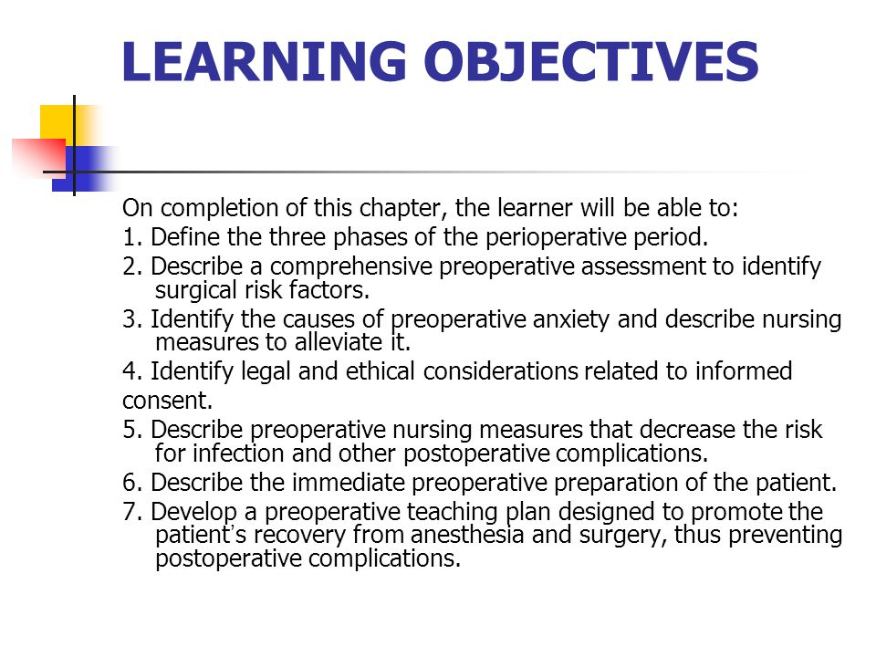 LEARNING OBJECTIVES On completion of this chapter, the learner will be able to: 1. Define the three phases of the perioperative period.