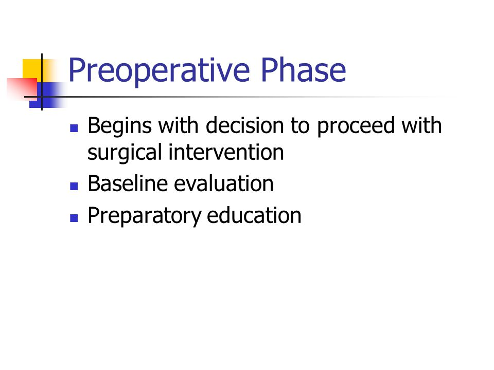 Preoperative Phase Begins with decision to proceed with surgical intervention. Baseline evaluation.