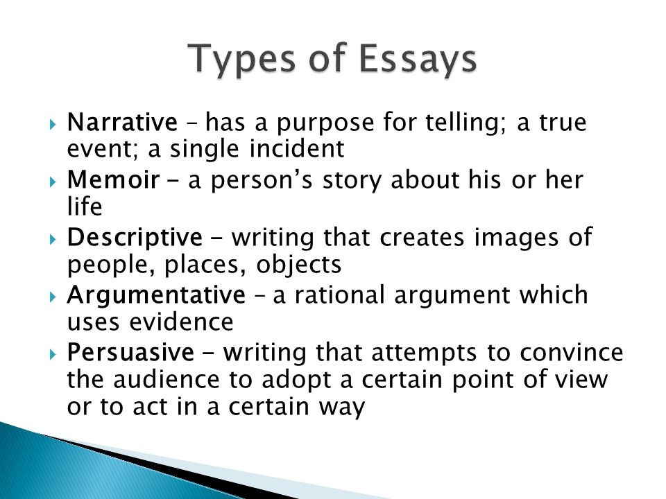 essays senior high english ppt  types of essays narrative has a purpose for telling a true event a