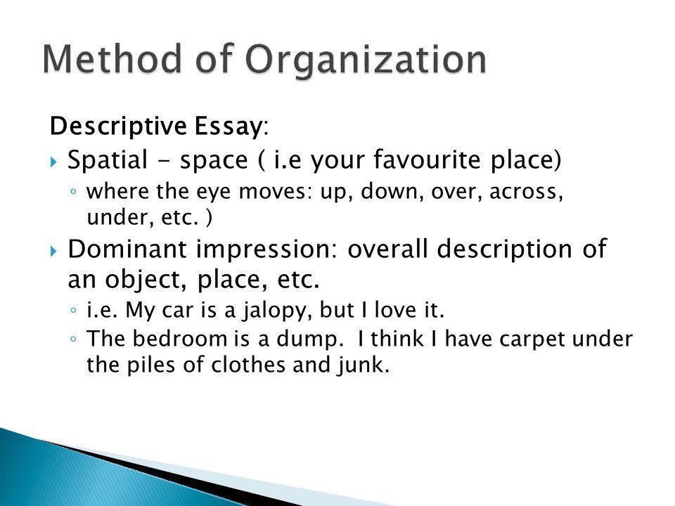 organization methods for essays In this unit, students further develop their understanding of expository writing by  being introduced to examples of various organizational.
