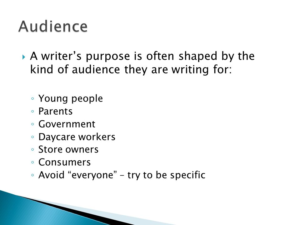 audience purpose persona thesis Writing for an audience learn how to identify your audience and craft your writing to meet their needs imagine that you recently had a car accident and you were partially responsible.