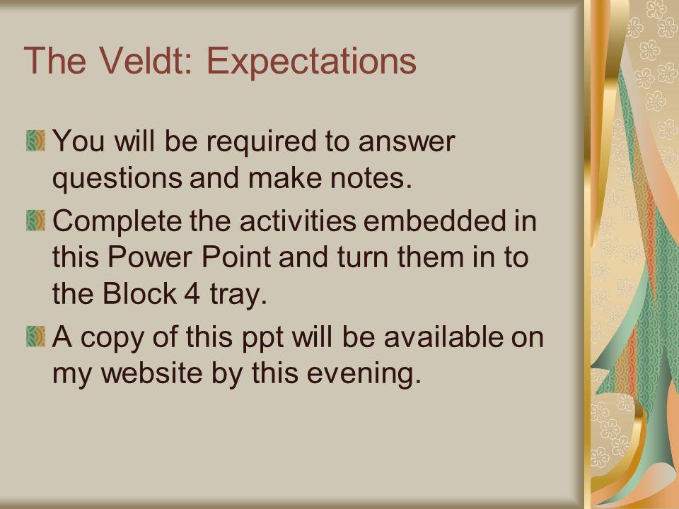 the veldt 2 essay + 2 # , $- &  6 )& & & 5 7 ( ( )& 8 2  9 , &.