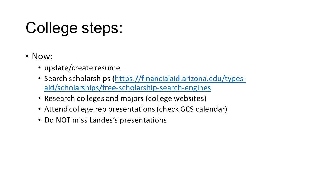 college steps now updatecreate resume