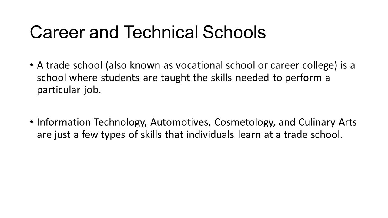 types of vocational schools