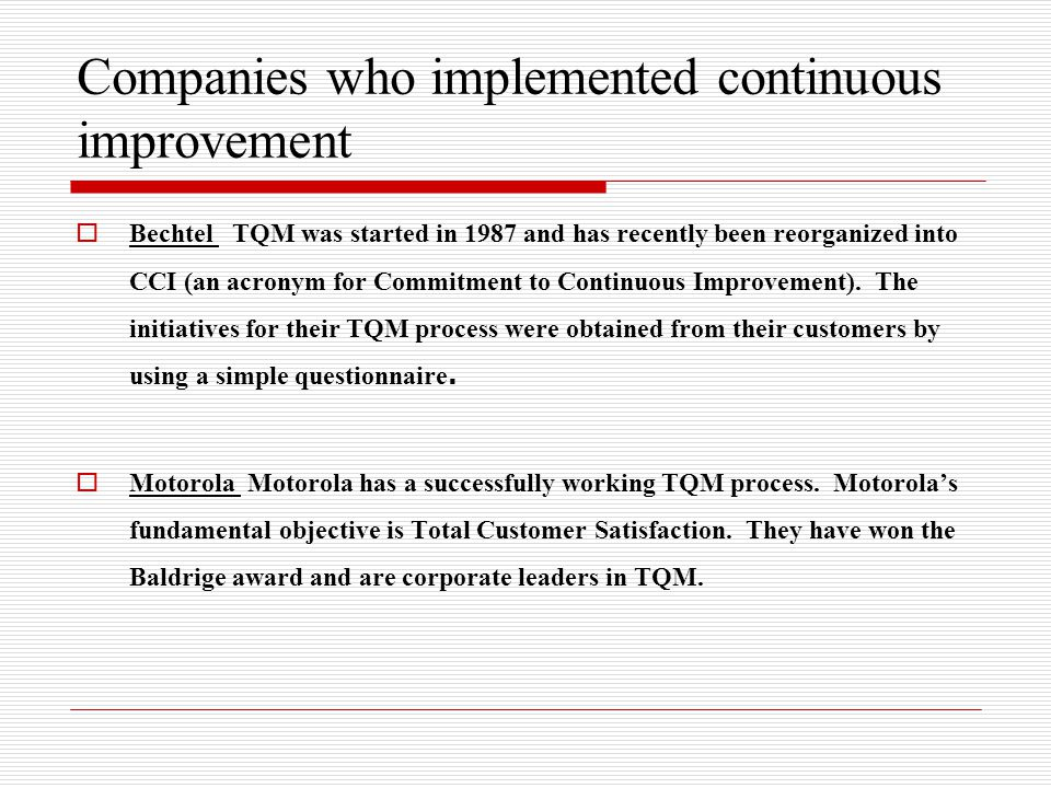 tqm questionnaire Objectives the aims of the study were to explore the extent of total quality management (tqm) implementation in hospitals and its association with demographic variables.
