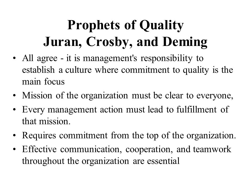 Philosophies Regarding Quality Juran and Crosby Prepared by: Bhakti Joshi Date: December 12, 201