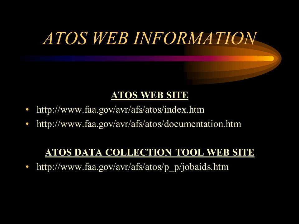 ATOS DATA COLLECTION TOOL WEB SITE