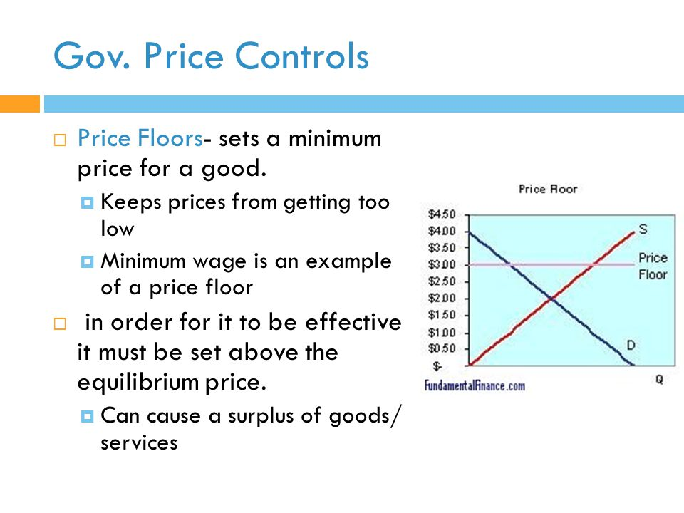 Price Controls Price Floors  Sets A Minimum Price For A Good.