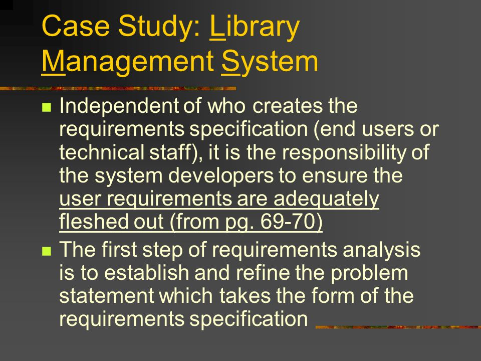 problem statement for library management system using barged reader The need for barcode integration will eliminate the problem of keying the query used is sql statement the architecture of a library management system using.