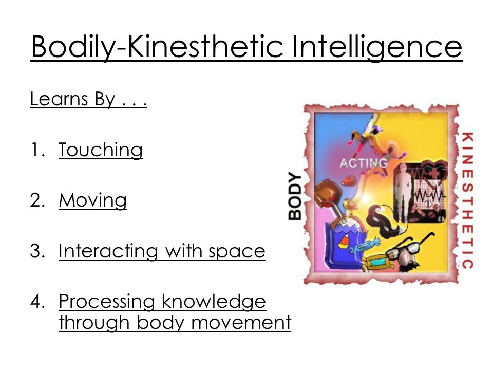 kinesthetic intelligence Bodily-kinesthetic intelligence involves body movement, physical experiences, or the sense of touch multiple intelligences: careers and people.