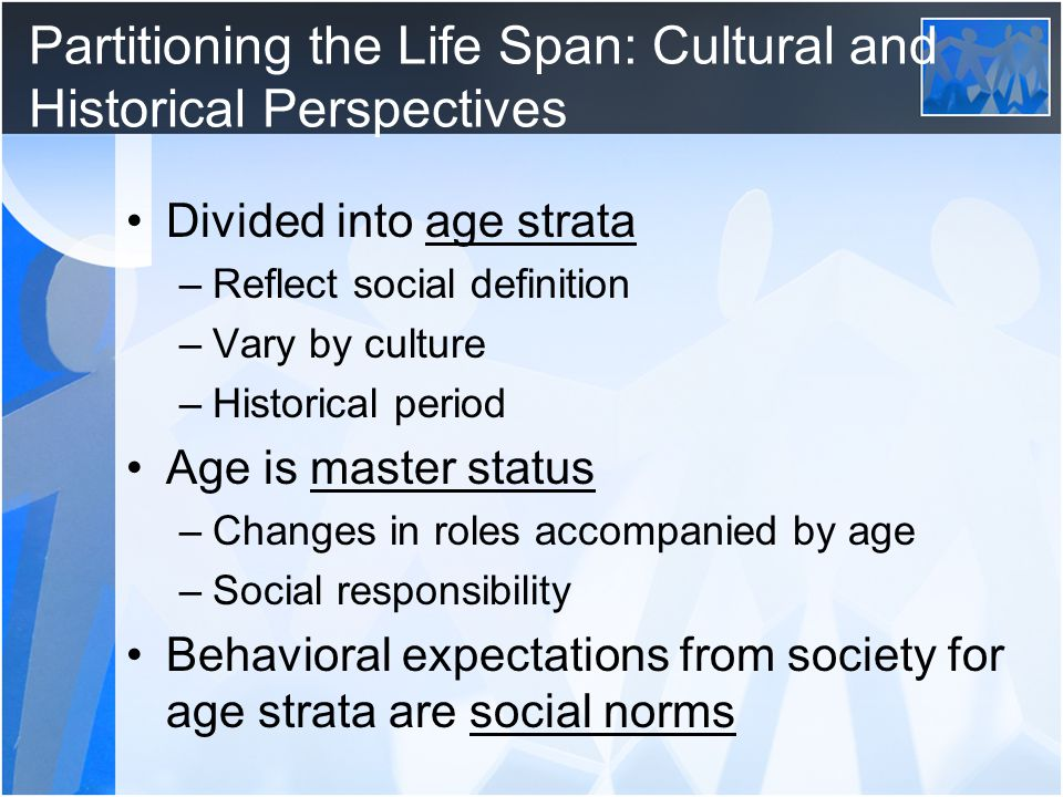 Partitioning the Life Span: Cultural and Historical Perspectives