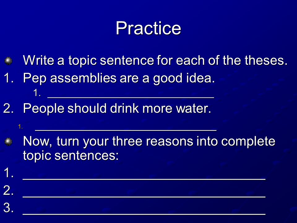Thesis sentence practice