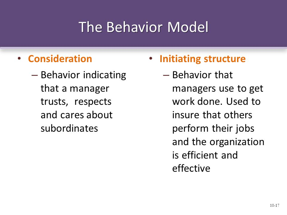 The Behavior Model Consideration