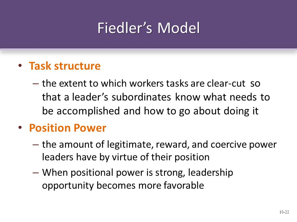 Fiedler's Model Task structure Position Power
