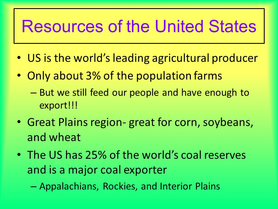 Resources Of The United States
