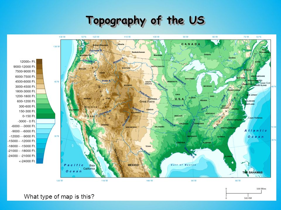 The Geography Of The United States Ppt Download - Map of us topography