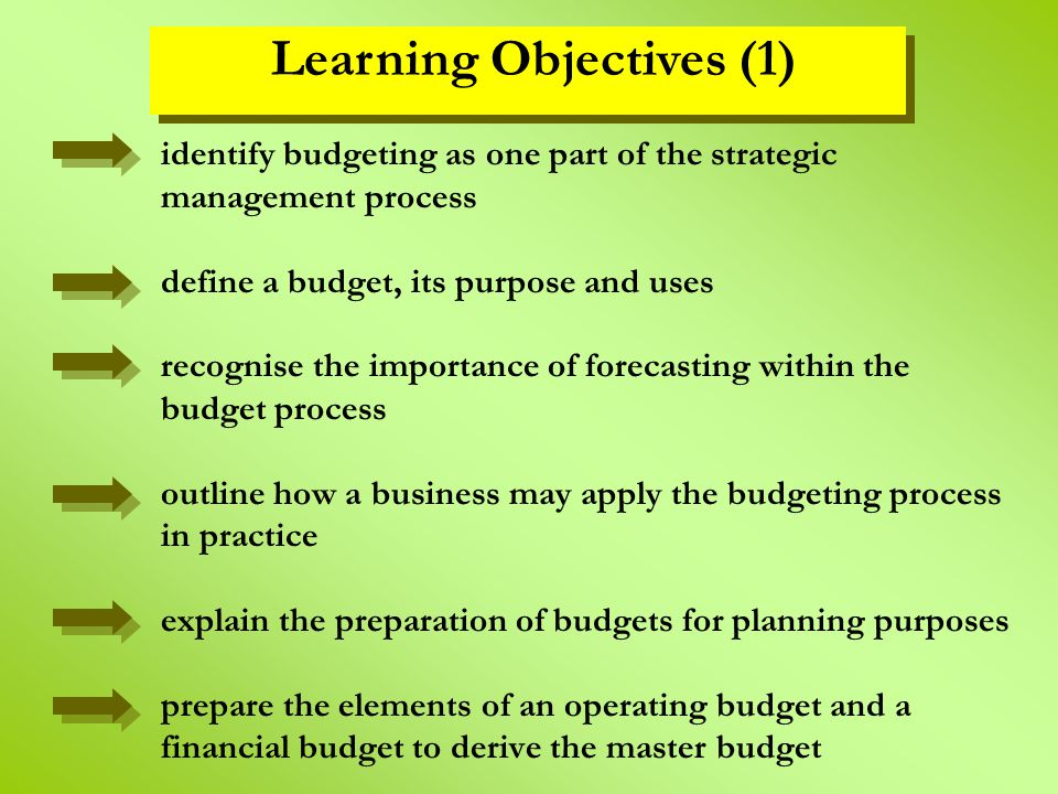 the process of budgeting and its uses The advantages of budgeting include: planning orientation  the process of creating a budget takes management away from its short-term, day-to-day management of the business and forces it to think longer-term.