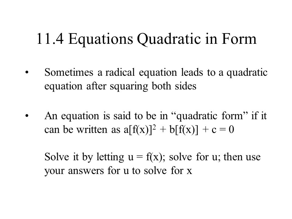 how to solve equations in quadratic form