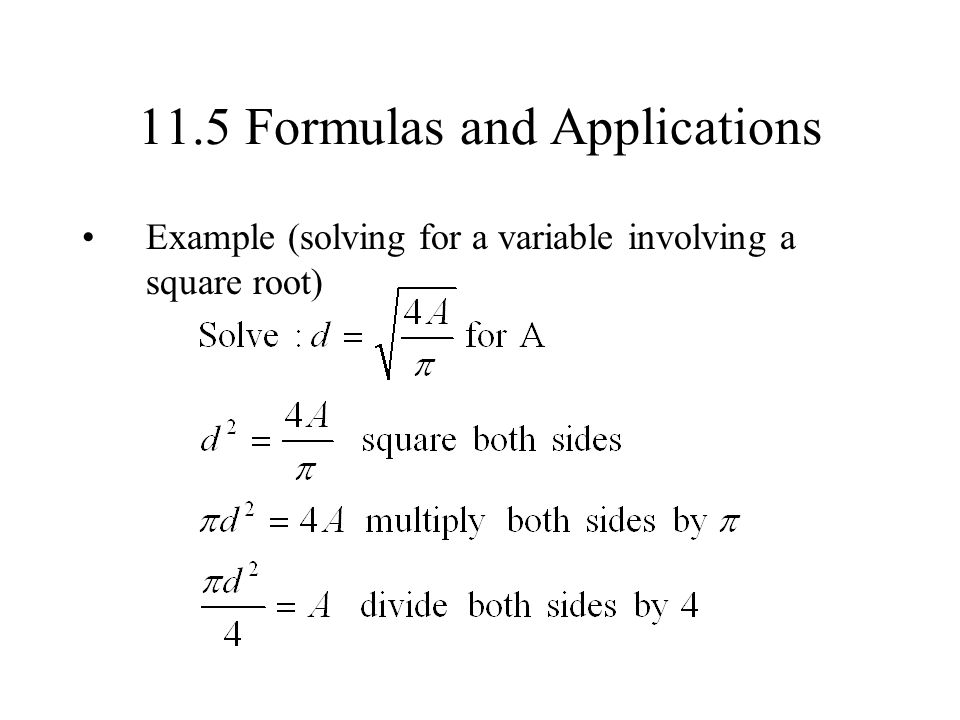 11.5 Formulas and Applications